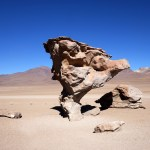 The stone tree or Arbol de Piedra in Spanish in the Siloli desert in Bolivia