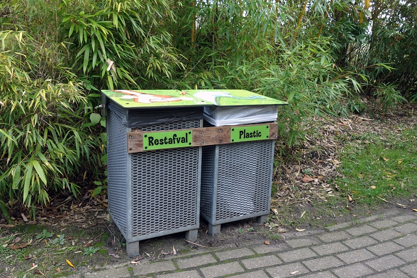 litter bin and plastic bin in the animal park Dierenrijk in Nuenen Mierlo in the Netherlands