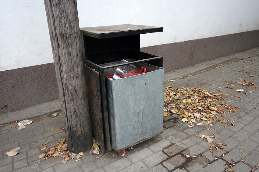 a litter bin by a tree in a street of Pristina in Kosovo with autumn leaves on the floor