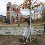 litter bins in front of the unfinished orthodox church in Pristina Kosovo
