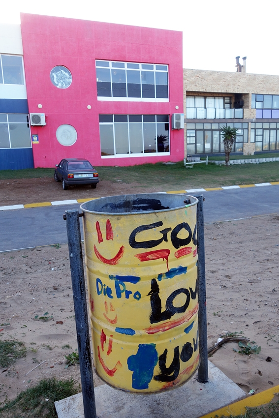 a litter bin by Dolphin Beach in Jeffreys Bay in South Africa