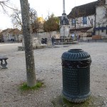 a litter bin on a square in the village of Provins UNESCO world heritage site in France