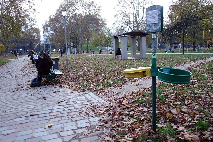 place for litter bins but without bags by a park in Bercy Paris France