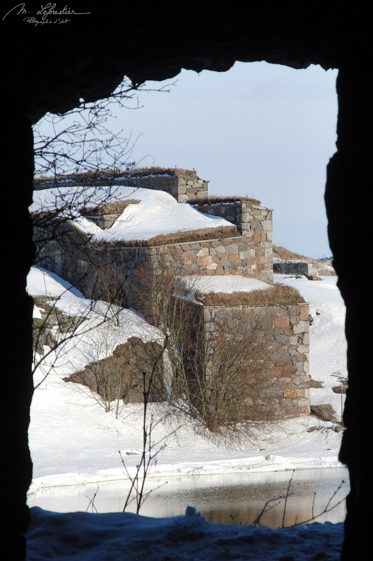 view of the Suomenlinna fortress UNESCO world heritage site under the snow