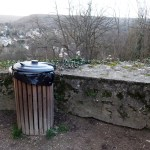 trash bin with a view by the chateau de la Madeleine in Chevreuse France