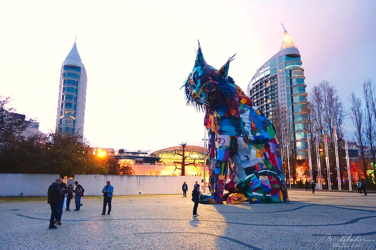 colorful sculpture by Artur Bordalo in Lisbon Portugal, made of recycled material and representing an iberian lynx