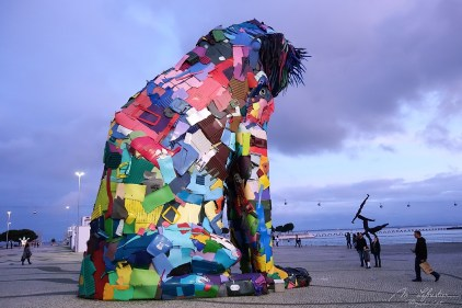 view of the back of the sculpture of Artur Bordalo, the iberian lynx made of recycled materials in Lisbon Portual