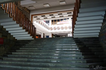 the inside stairs of the Kosovo library in Pristina
