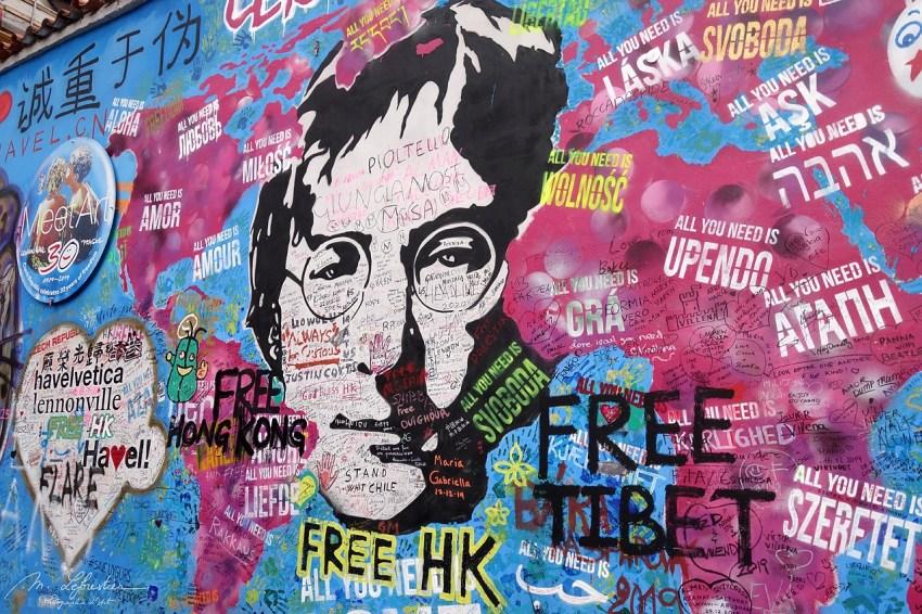 Street art on the John Lennon Wall in Prague as of January 2020