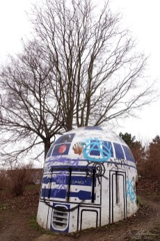 R2-D2 star wars robot in prague painted on an old bunker