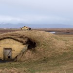 turf house at the main site of the Njalls saga where his farm was burnt down, Bergþórshvoll