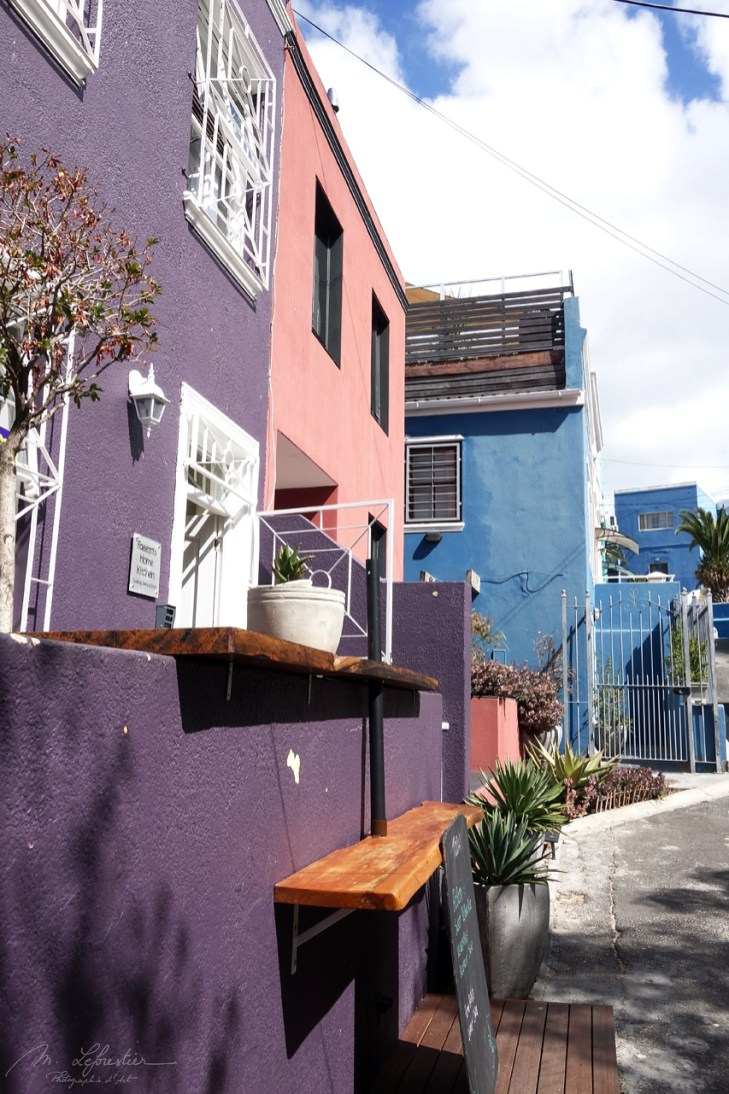 pastel colored houses in Bo Kaap in Cape Town South Africa