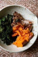 Slow cooked pork loin, braised kale and baked sweet potato.