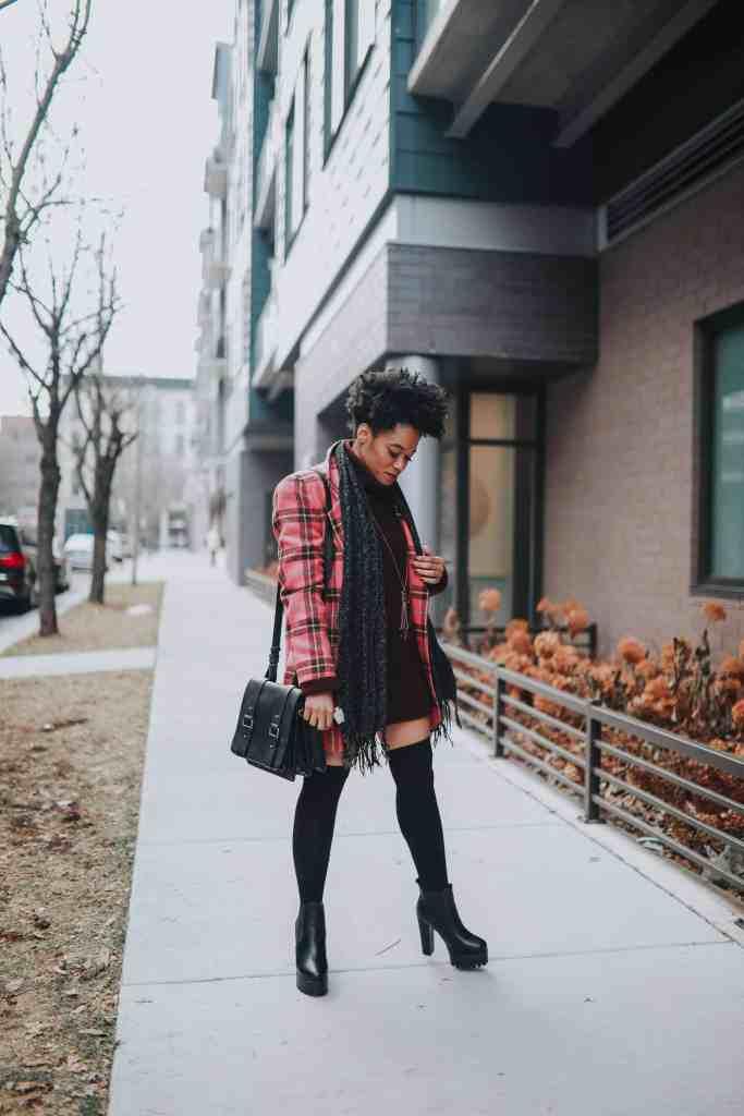 Pink Plaid blazer and black platforms