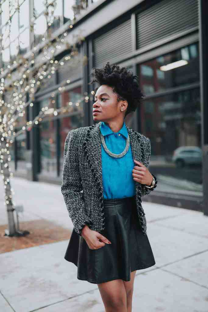 Blue blouse and tweed blazer 8