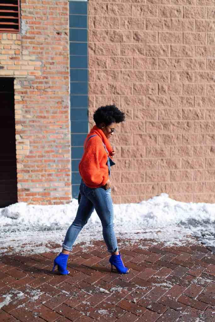 Orange H&M Sweater and Modcloth Overalls 5