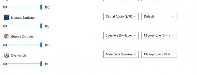 Windows может воспроизводить аудио приложения одновременно на разных колонках и наушниках