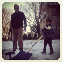 "My run view 12/26/13 - Aditya with his dad Nirmal. ""Adi"" told me that in 4 seconds they would finish shoveling the drive and build a snowman! - Kansas City, Mo."