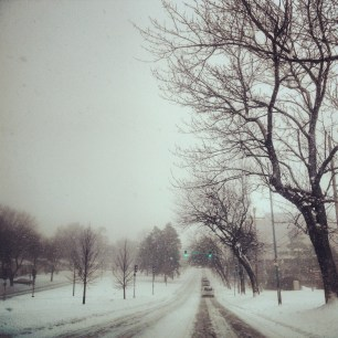 My (unofficial) run view 2/10/14 - too snowy to run outside..on my way to the gym. Kansas City, Mo.