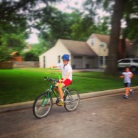 My run view 9/1/14 - Siblings with bubbles and a bike = Priceless. Westwood, Kan. © Sally Morrow Photography