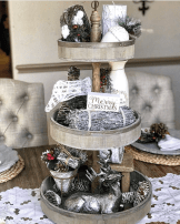 White & Silver Tiered Christmas Tray Styling
