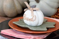 Engraved White Pumpkins for Each Place Setting