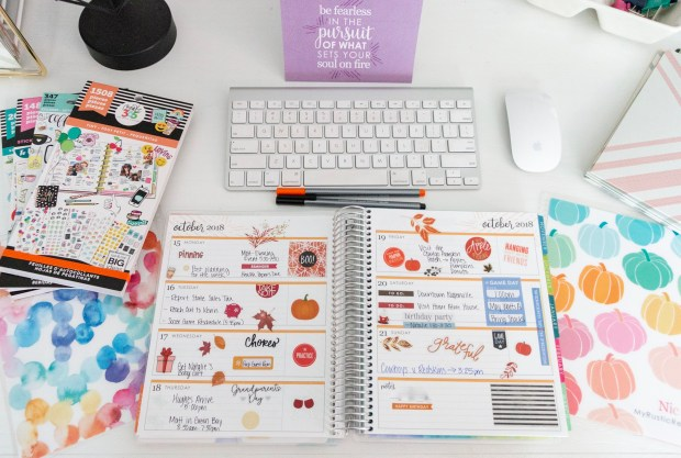 I love decorating my life planner with fall stickers