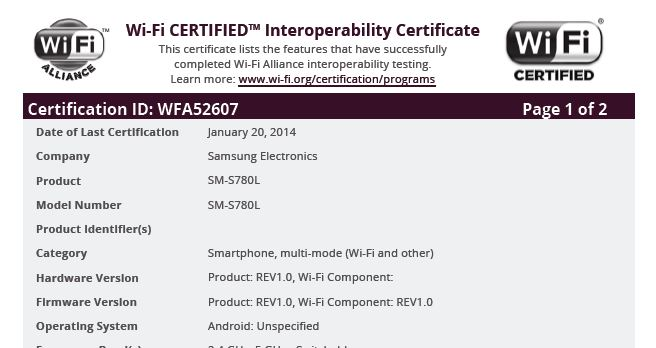 Unannounced Samsung SM-S780L receive Wi-Fi certification