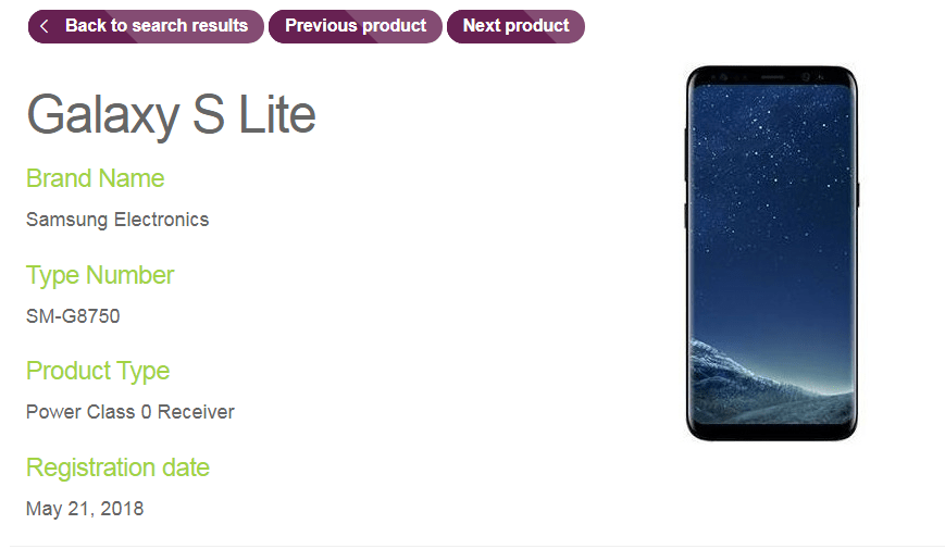 Samsung Galaxy S Lite (SM-G8750) listed on Wireless Power Consortium site