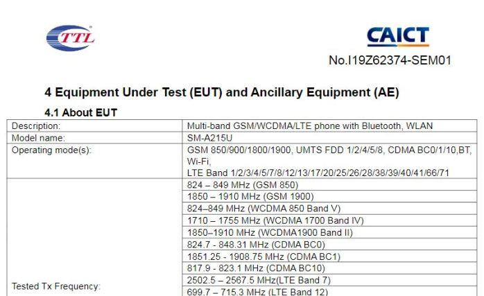 Samsung Galaxy A21 SM-A215U Frequency Bands