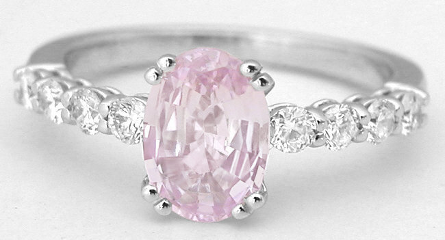 Oval Pink Sapphire And Diamond Ring In 14k White Gold (SSR