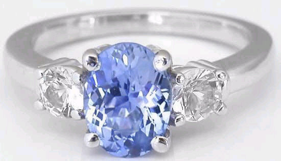 1.77 Ctw Ceylon Blue Sapphire And White Sapphire Ring In