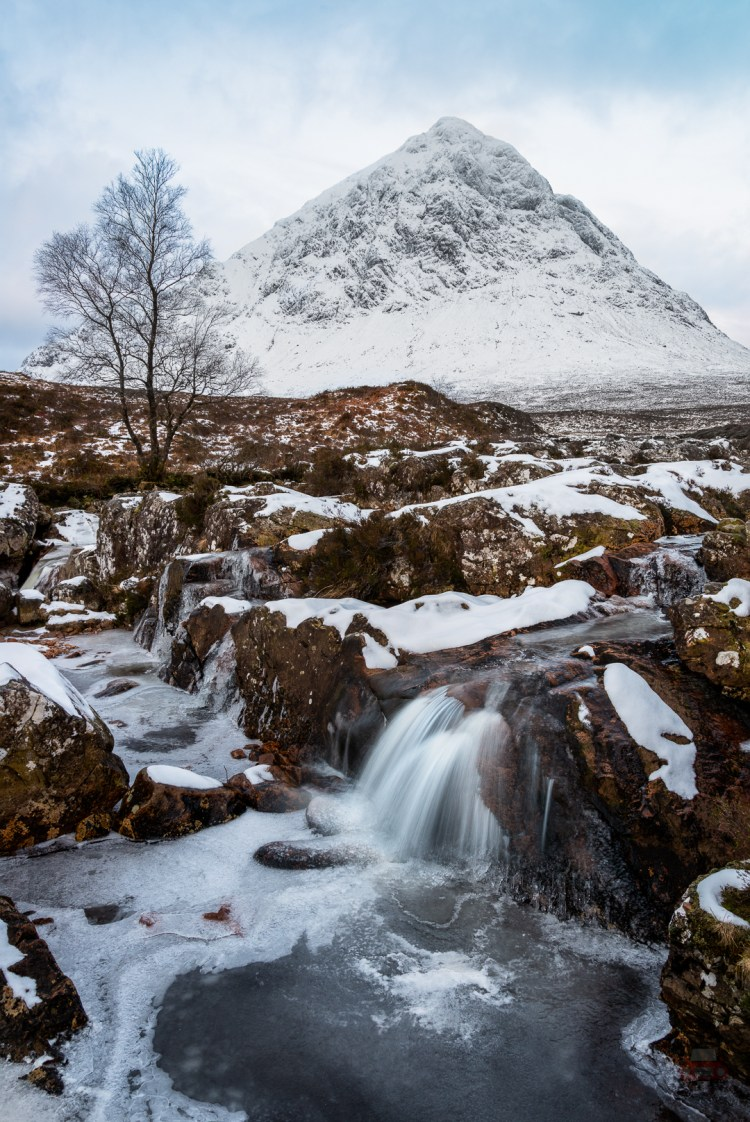 This is a shot of the Etive Mor Waterfall in winter