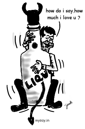 alcohol addiction cartoon image