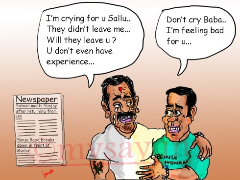 sanjay dutt cartoon,salman khan cartoon,