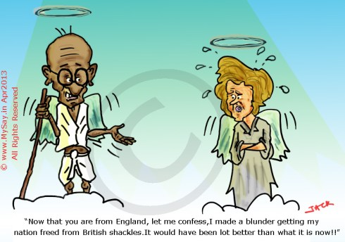 scam cartoon,indian scam cartoon,margaret thatcher cartoon,gandhi cartoon,