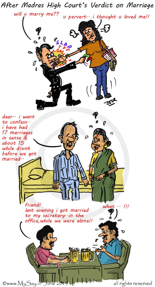 madras high court verdict,marriage cartoon,live-in relationship cartoon,mysay.in,