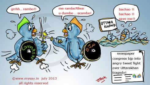 angry tweets on uttarakhand tragedy,bjp cartoon,congress cartoon,tweet fight,uttarakhand flood,political cartoons,mysay.in