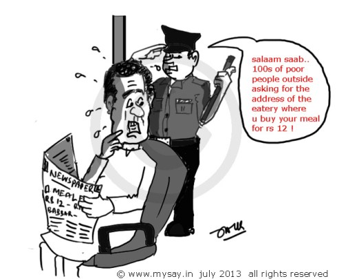 raj babbar cartoon,can have meal for rs 12,political cartoons,mysay.in,poverty line 22 percent,