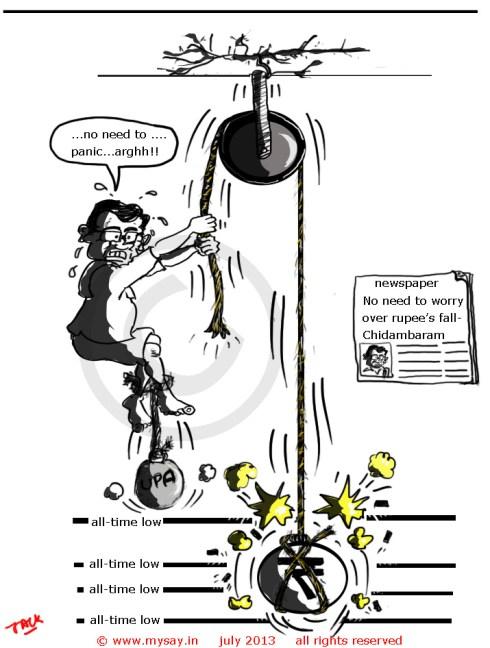 p chidambaram cartoon,rupee fall cartoon,inr,mysay.in,political cartoon,