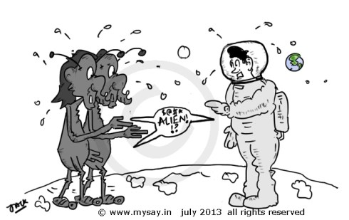 alien cartoon,astronaut cartoon,take lite,just for gags,mysay.in