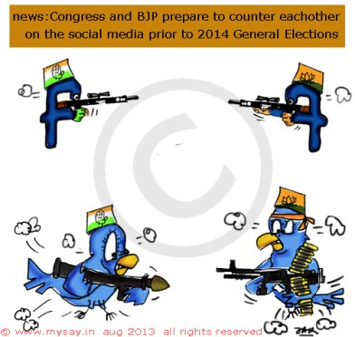 social media cartoon,facebook cartoon,twitter cartoon,indian political parties on social media cartoon,mysay.in,political cartoon,