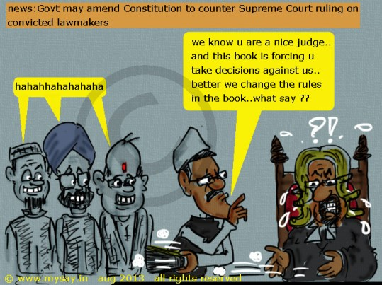 constitution amendment cartoon,political cartoons,mysay.in,Govt to amend Constitution to counter Supreme Court ruling on convicted lawmakers