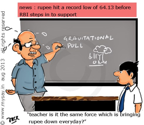 rupee reaches new low,rupee vs dollar cartoon,mysay.in,inflation,gravitational pull cartoon,