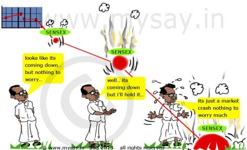 stock market crash,rupee cartoon,stock market cartoon,sensex cartoon,p chidambaram cartoon,mysay.in , political cartoon,economic situation better tha 1991 crises-pm singh