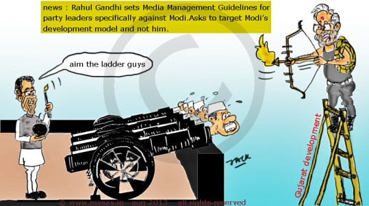 gujarat development model,rahul gandhi cartoon,narendra modi cartoon,modi vs rahul cartoon,mysay.in political cartoons,