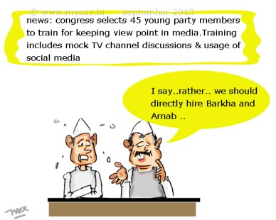 congress cartoon,arnab goswami jokes,congress selects and trains members to articulate party viewpoints in the media,political cartoons,mysay.in,