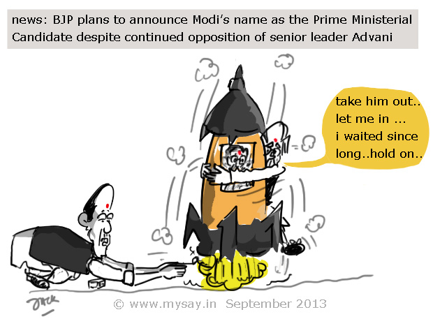 bjp to name modi as pm candidate | MySay in | Cartoons