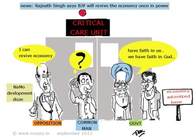 reviving indian economy,rajnath singh cartoon picture,manmohan singh funny,p chidambaram cartoon, common man cartoon image,political cartoon,mysay.in