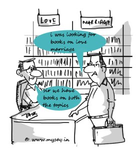 love marriage cartoon jokes,bookstore cartoon image,love marriage jokes,mysay.in,